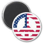 USA Peace Sign 2 Inch Round Magnet