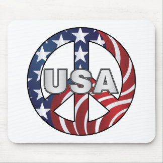USA Peace Sign Mouse Pad