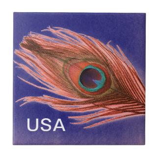 USA Peacock Feather Ceramic Tile