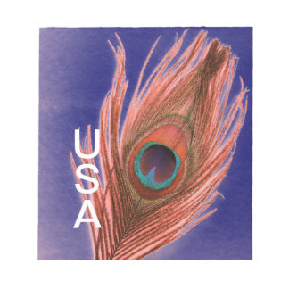 USA Peacock Feather Notepad