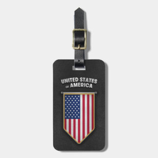USA Pennant with high quality leather look Luggage Tag