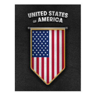 USA Pennant with high quality leather look Postcard