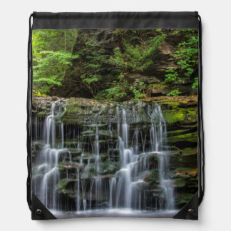 USA, Pennsylvania, Benton. Waterfall In Ricketts Drawstring Backpack