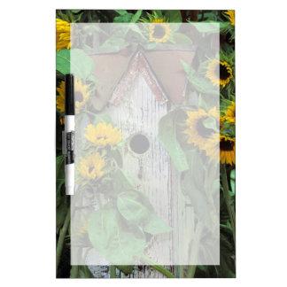 USA, Pennsylvania. Birdhouse and garden Dry Erase Board