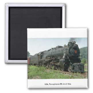 USA, Pennsylvania RR 4-6-2 K4s 2 Inch Square Magnet