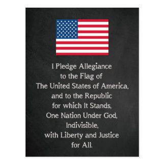USA Pledge of Allegiance Flag Postcard