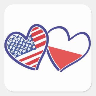 USA Poland Flag Hearts Square Sticker