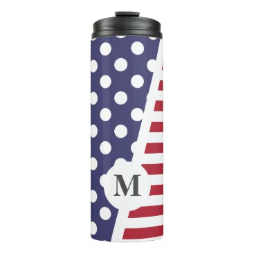 USA Themed USA Polka Dots and Stripes: Monogram Thermal Tumbler