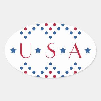 USA Polka Dots Oval Sticker