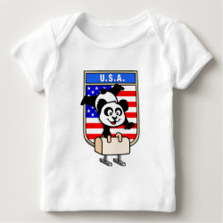 Baby Fine Jersey T-Shirt with American Pommel Horse Panda design