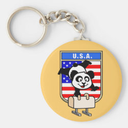 Basic Button Keychain with American Pommel Horse Panda design