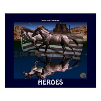 USA Pony Express Mustang Horses Art Poster