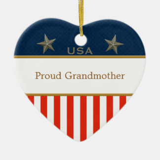 USA Proud Grandmother Patriotic Heart Frame Double-Sided Heart Ceramic Christmas Ornament
