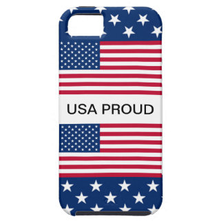 USA PROUD Star Border with 2 American Flags Cover iPhone 5 Cover