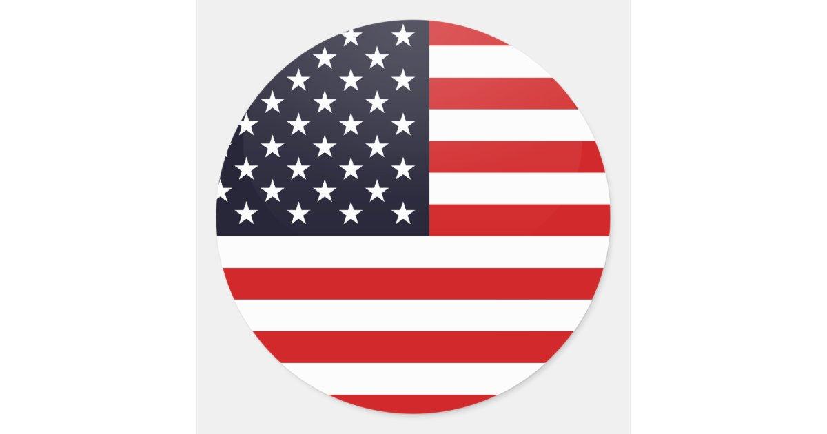 Usa quality Flag Circle Classic Round Sticker   Zazzle.com