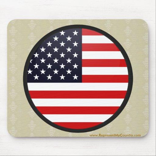 Usa quality Flag Circle Mouse Pad