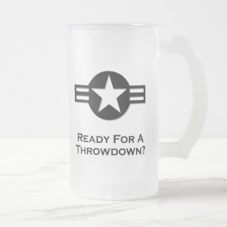 USA Ready For A Throwdown black 16 Oz Frosted Glass Beer Mug