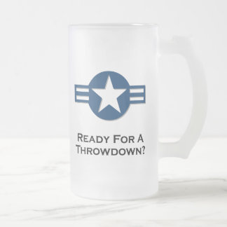 USA Ready For A Throwdown blue 16 Oz Frosted Glass Beer Mug