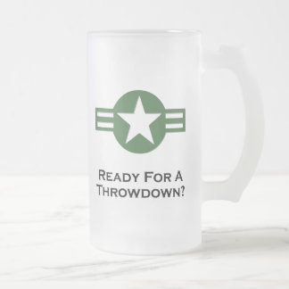 USA Ready For A Throwdown Green 16 Oz Frosted Glass Beer Mug