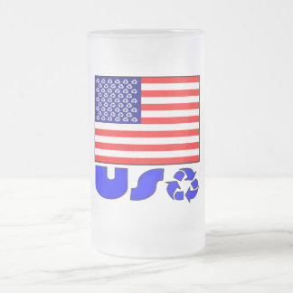 USA Recycled 16 Oz Frosted Glass Beer Mug