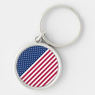 USA Red Blue White Stars Stripes Round Keychain
