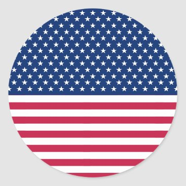 USA Themed USA Red Blue White Stars Stripes Round Stickers