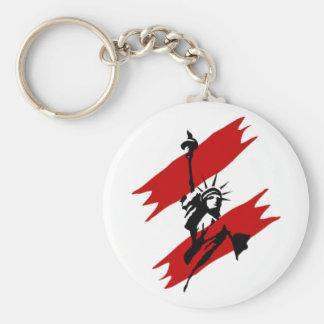 USA-Red Splash Statue of Liberty Basic Round Button Keychain