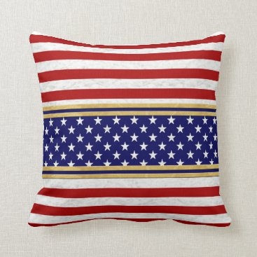 USA Themed USA Red Stripes Blue Stars Decor-Soft Pillows