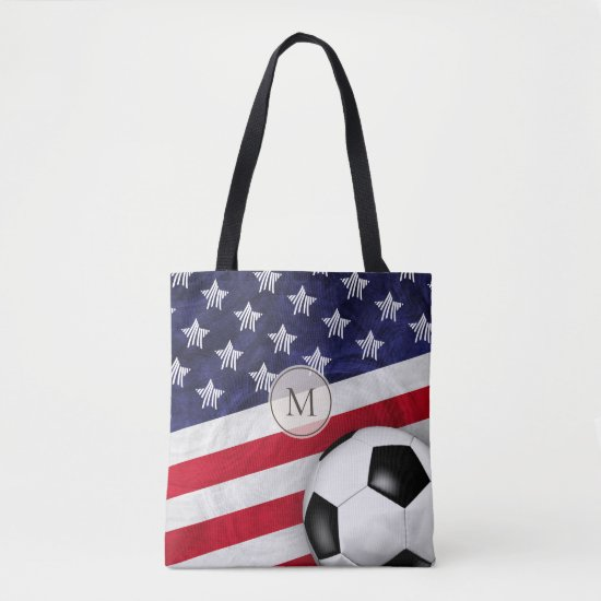 USA red white and blue American flag w soccer ball Tote Bag