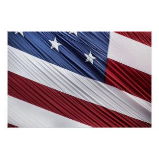 USA Red, White and Blue American Patriotic Flag Poster