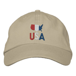 USA Red White and Blue American Patriotism Map Embroidered Baseball Cap