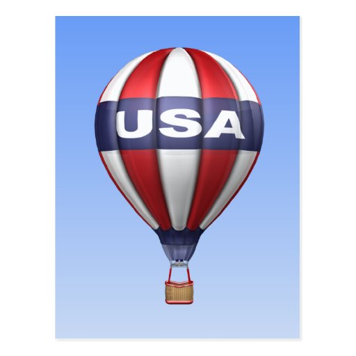 USA Red White and Blue Balloon Postcard