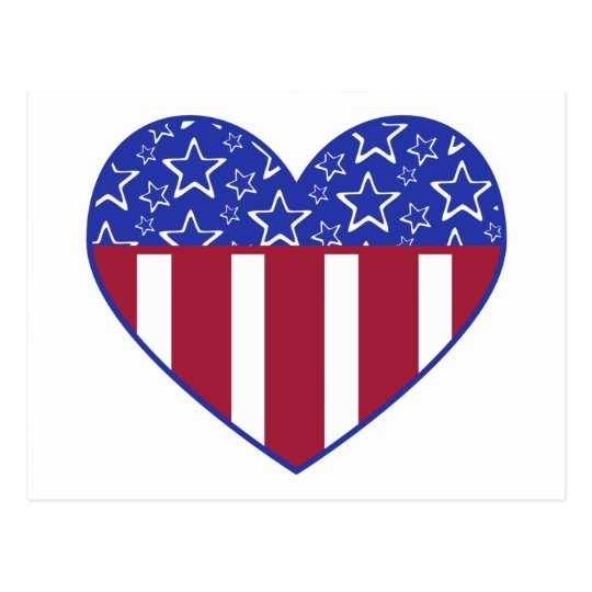 USA Red White and Blue Heart Postcard   Zazzle