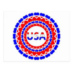 USA.Red White and Blue Hearts Button Postcard