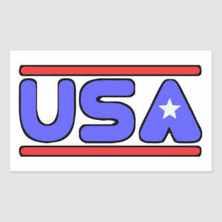 USA red white and blue Rectangular Sticker