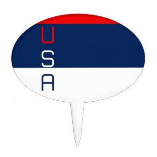 USA Red White and Blue-Striped Oval Cakepick