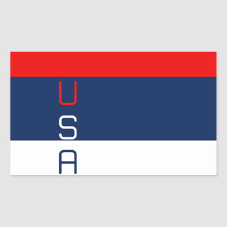 USA Red White and Blue Striped Rectangle Stickers