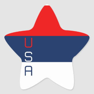 USA Red White and Blue-Striped Star Stickers