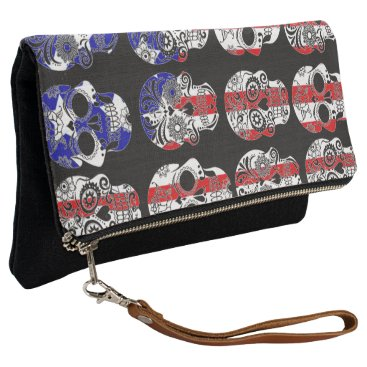 USA Themed usa red white and blue sugar skulls clutch