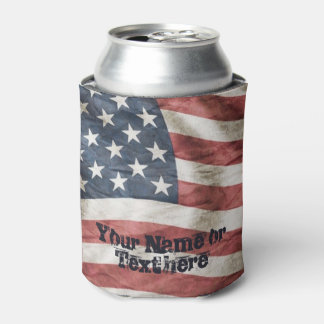 USA Red, White and Blue Vintage Flag Can Cooler