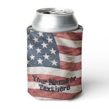USA Themed USA Red, White and Blue Vintage Flag Can Cooler