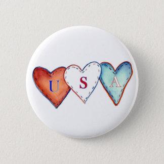 USA Red, White, & Blue America Pride Hearts Button