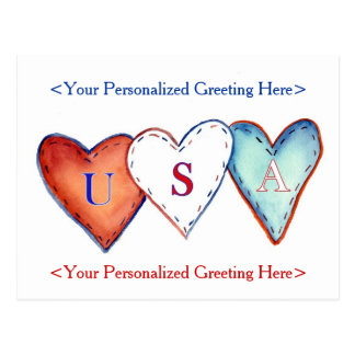 USA Red, White, & Blue American Hearts Postcard