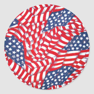 USA,Red,White & Blue_ Classic Round Sticker
