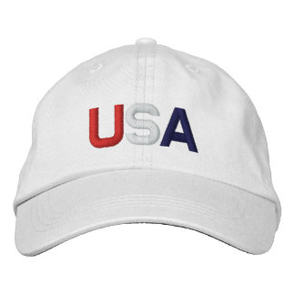 USA Red White Blue Embroidered White Hat