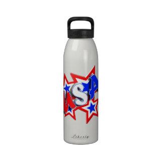 USA Red White Blue Stars A Plenty Water Bottles