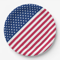 USA Red White Stripes Stars Flag Party Paper Plate 9 Inch Paper Plate