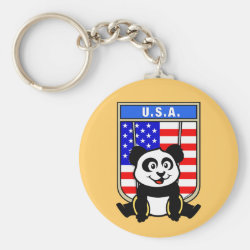 Basic Button Keychain with American Rings Panda design
