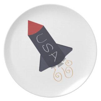 USA Rocket Dinner Plates