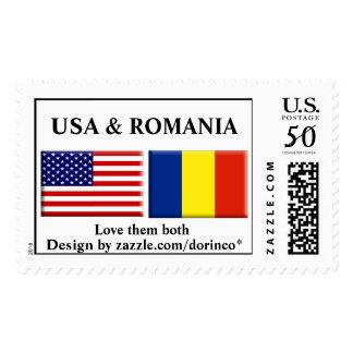 USA & ROMANIA flag Customized Postage